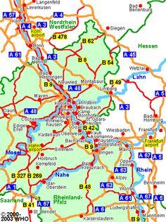 Landkarte Ausflüge Straßenkarte Hunsrück Hunsruck Hunsrueck ...