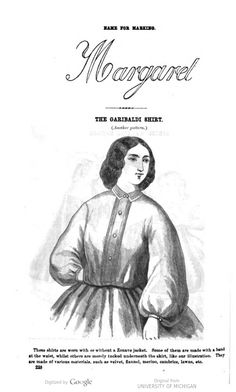 Another Garibaldi Shirt image of page 228 Godey's Ladies Magazine March 1862
