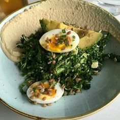 Kale salad with hummus, two hard bowl eggs and avocado @ Two Hands