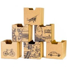 Amazon.com: Sprout City Print Cardboard Cubby Bins, 6 Pack: Toys & Games