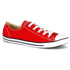 Converse Women's Chusk Taylor Dainty Varsity Red - 4 D(m) Us Men/ 6... ($55) ❤ liked on Polyvore featuring shoes, sneakers, converse, red, converse footwear, red shoes and converse shoes