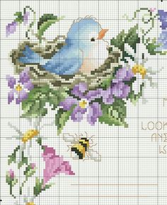 No photo description available. Cross Stitch Bird, Cross Stitch Flowers, Cross Stitch Charts, Cross Stitch Designs, Cross Stitching, Cross Stitch Embroidery, Hand Embroidery, Cross Stitch Patterns, Vintage Embroidery