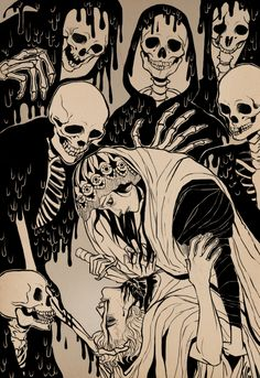 Art illustrations, Danse Macabre: Artist is Kippery aka Stephanie Pepper. Art Macabre, La Danse Macabre, Vanitas, Art And Illustration, Art Illustrations, Memento Mori, Art Noir, Drawn Art, Desenho Tattoo