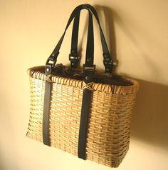 """bamboo basket """"bamluxe(S)"""" with black leather handle"""