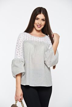 LaDonna casual cotton lightgreen women`s blouse with stripes with bell sleeve, women`s blouse, one back botton fastening, cut out material, bell sleeve, easy cut, nonelastic fabric