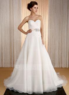 A-Line/Princess Sweetheart Court Train Organza Satin Wedding Dress With Sash Beading (002031864) - JJsHouse
