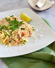 Cous cous con salmone, zucchine e cocco