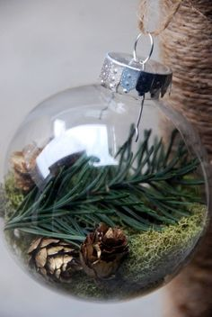 @Sasha Hatherly Maslow clear plastic glass ornament homemade DIY gift christmas craft glass or plastic clear ornament mini pine cones reindeer moss tree trimmings long tweezers (or something else to help insert your filler - I used dental cotton pliers