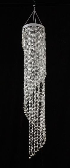 Silver Diamond Cut Spiral Beaded Chandelier