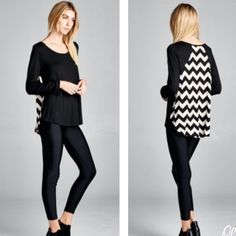 NWOT chevron hi-lo top New without tags, duo print, hi-lo relaxed, scoop top with pleating. 95% rayon, 5% spandex. Black and ivory chevron top. Made in USA. Tops