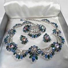 STUNNING VINTAGE SIGNED CHRISTIAN DIOR 50s BLUE STONE NECKLACE/EARRINGS/BROOCH in Jewellery & Watches, Vintage & Antique Jewellery, Vintage Costume Jewellery, Unknown Period   eBay