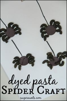 Dyed pasta spider craft. This is a great craft for a Fun and Frugal Halloween party with kids. #DTAnniversary #ad