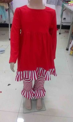 Red and white two piece Christmas ruffle pant set by 1LittleRicky