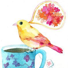 birdy and a blue teacup