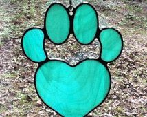 Wispy Mint Green Stained Glass Dog Paw Pad with Heart Sun Catcher Great Gift for Dog Lovers!