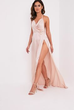 Lucie Champagne Silky Plunge Extreme Split Maxi Dress Image 5