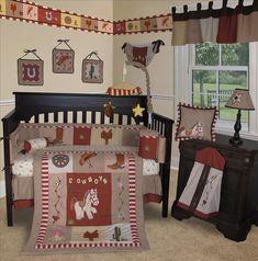 Baby Boutique Western Cow Boy 15 Pcs Crib Bedding Nursery Set