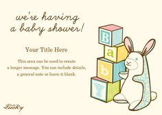 This site has really cute baby shower evites, and most are free! Really Cute Babies, Unisex Baby Shower, Having A Baby, Invitation Cards, Invite, Baby Shower Invitations, Party Time, Craft Projects, Bunny