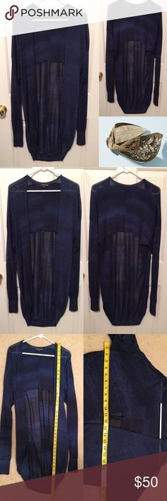 Tricot by Alexander wang shimmer stripe cardigan Can be worn open but also has hook enclosures. Beautiful and magical. Gently worn with one tiny run as shown in the last photo. ❌trades or off-site transactions.I offer a variety of sizes in my closet therefore I do NOT model items.•I will counteroffer with the best value I can offer•I have 2 littles &🚑 an illness that sometimes requires serious medical attention and alot of hospital visits.📬Sometimes shipping takes a little longer because…