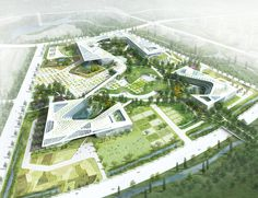 Chungnam Provincial Government Complex in Hongsung by H Associates + Haeahn Architecture Landscape Architecture Drawing, Architecture Visualization, Green Architecture, Landscape Plans, Urban Landscape, Landscape Design, Architecture Diagrams, Architecture Portfolio, Planer Layout