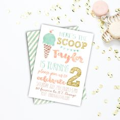Birthday Party invitations, Summer Birthday Invitation, Printable, Ice Cream, First Birthday, Second Birthday, Sizes 4x6 or 5x6 #10 by ZoomBooneCreations on Etsy https://www.etsy.com/listing/236553303/birthday-party-invitations-summer