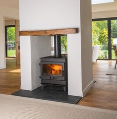 Croft Double Sided Small wood stove with A Energy Rating ~ Stoves & More in North Berwick Wood Burner Fireplace, Open Fireplace, Fireplace Design, Fireplace Ideas, Fireplace Kitchen, Log Burner Living Room, Open Plan Kitchen Living Room, Living Room With Fireplace, Living Rooms