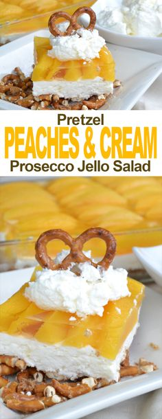 A delicious combination of creamy, sweet and salty. The saltiness comes from the pretzel crust, the creaminess from the lightly sweetened homemade whipped cream filling and the piece de resistance comes from the naturally sweetened peaches that are bathing in a prosecco gelatin.