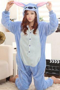 Blue Stitch Cartoon Onesies Animal Pajamas