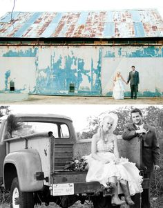 Wedding photo shoot - In front of barn, in back or rusty pickup truck bed with bride's dress pulled up to show cowboy boots