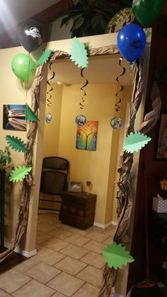 Dino party. Jurassic world party decorations. Craft paper, green card stock and frog tape.