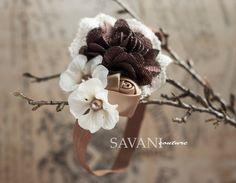 Baby girls Headband Ivory brown lace HeadbandBaby by SAVANIcouture, $12.99