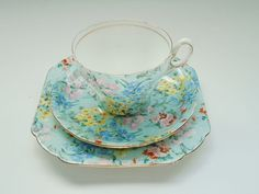 Vintage Shelley China Melody Chintz Trio Tea Cup Saucer Plate