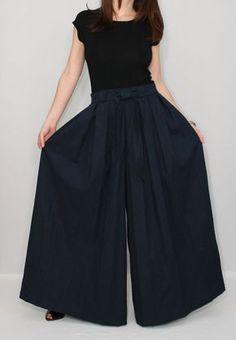 Linen pants Navy blue pants Wide leg pant skirt
