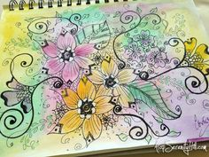 Original pinner sez: Time in my sketchbook • Visit the blog to see my mixed media art journal time lapse video • AtopSerenityHill.com #mixedmedia #artjournaling #doodling