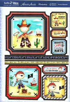 Hunkydory Tots 2 Teens die cut toppers & card - Howdy Shipmate! Cowboy, pirate