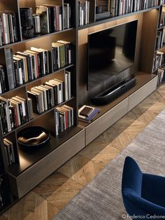 Bookcase Good, Great, or just OK? Bookcase 7 DIY Old Rustic Wood Furniture Projects 13 Ways to Rethink the Foot of Your Bed 62 Home Library Design Ideas With Wooden Bookcase, Bookcase Wall, Wall Shelving, Bookcases, Living Room Tv, Home And Living, Casa Retro, Muebles Living, Interior Architecture