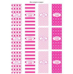 Free Pink Princess Printable mini candy bar wrappers # ...