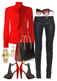 Untitled #407 by scannedbyaaron on Polyvore featuring polyvore fashion style Yves Saint Laurent Balmain Christian Louboutin Rolex Tom Ford clothing