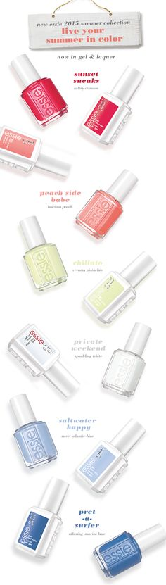 Live summer in color with the new essie 2015 collection, also available in gel. #essiesummer2015