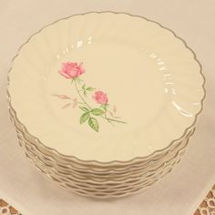 Set of 8 Dorset Bread Plates by Scio China ~ Pink Roses White Ivory Background…