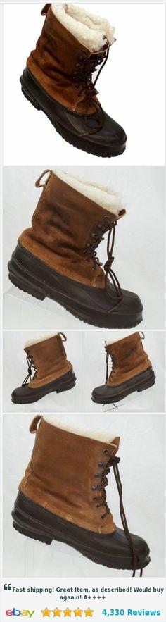 Men's EDDIE BAUER Distressed Duck Boots Brown Leather Sherpa USA sz 10 | eBay