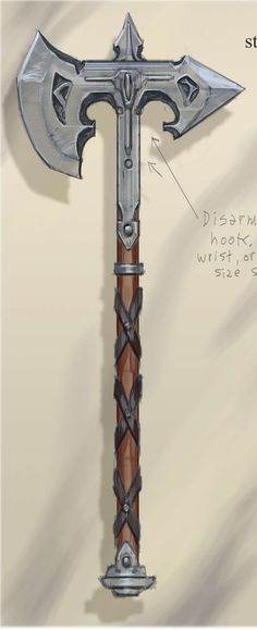Steel Battle Axe concept art from The Elder Scrolls V: Skyrim by Adam Adamowicz