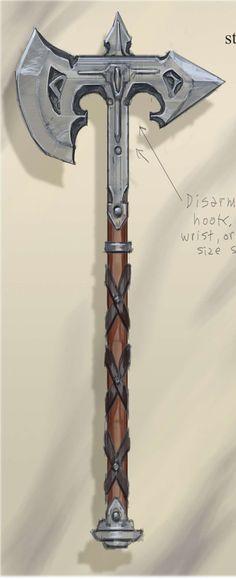 Steel Battle Axe concept art from The Elder Scrolls V: Skyrim by Adam Adamowicz