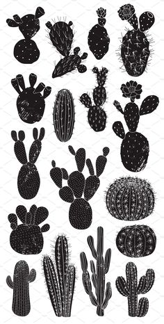"""""""Cactus Lover"""" Print Collection consists of 17 cacti illustrations with the linocut effect. This graphic set will be great as a prints, posters, cards, wrapping Cactus Illustration, Graphic Illustration, Illustrations, Fabric Stamping, Cactus Art, Poster S, Linocut Prints, Pictures To Paint, Drawings"""