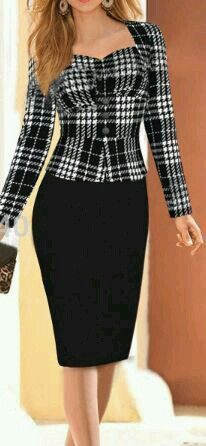 Women Houndstooth Dress Suit - HP Pencil Skirt and the HP Seriously Styling Jacket w/o reverend collar and shaped neckline and narrowed sleeve. Business Outfits, Business Attire, Business Meeting, Business Fashion, Classy Outfits, Cute Outfits, Houndstooth Dress, Dress Suits, Dresses