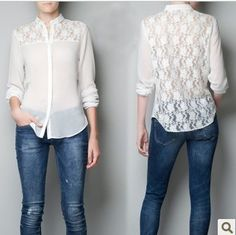 Nova Marca Mulher slim gola laço Patchwork Chiffon camisa branca preta com manga comprida Casual Blusa Blusa de renda cs53
