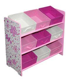 Loving this White & Pink Nine-Bin Kids' Storage Shelf on #zulily! #zulilyfinds