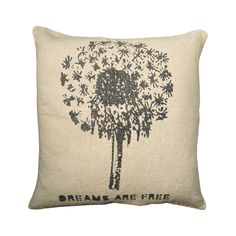 Dreams are always free. Remind yourself, and display this gorgeous earthy pillow, with its vintage-style illustration of a dandelion puff, while you're at it! Use as an accent pillow on a white or text...  Find the Make a Wishie Throw Pillow, as seen in the Shabby Chic Collection at http://dotandbo.com/collections/shabby-chic?utm_source=pinterest&utm_medium=organic&db_sku=103221