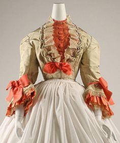 Circa 1869 silk Ensemble, French, via MMA.
