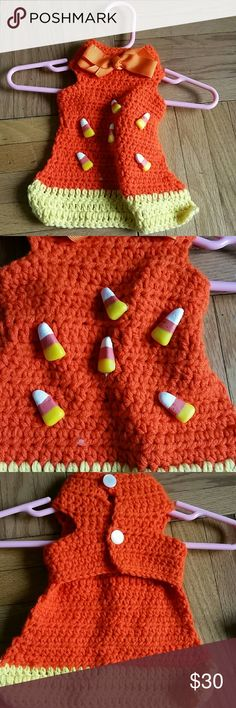 brand new handmade candy corn crochet dog pet vest check out my other items in my closet ? BUNDLES ARE THE BEST?? SAVE $$$  brand new with out the tag candy corn crochet halloween holiday doggy vest   this is handmade in the USA  absolutely gorgeous for and small dog  see will fit a dog with a  up to 12.5  girth chest.  #pet #pooch #cat #pug #doggie #dog #pets #cats #dogs #puppy #pug dog supply dog su Other